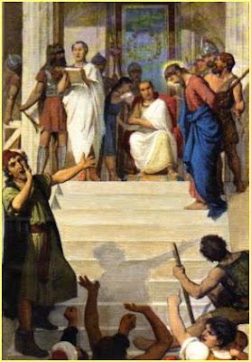 Risultati immagini per Pilato che impartisce l'ordine di crocifiggere Gesù