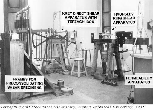 Laboratorio de mecánica de suelos de Karl Terzaghi en 1935
