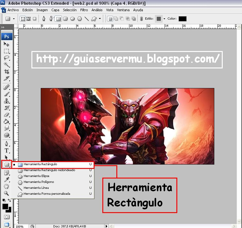 Seleccionando la herramienta rectángulo en photoshop cs3