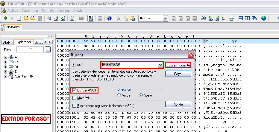 Buscando la palabra clave eventmap en el ultraedit