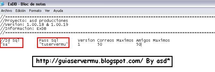 Exdb con los datos del sql