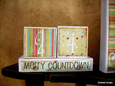 Merry Christmas Countdown wood blocks with paper and vinyl from www.summerscraps.com