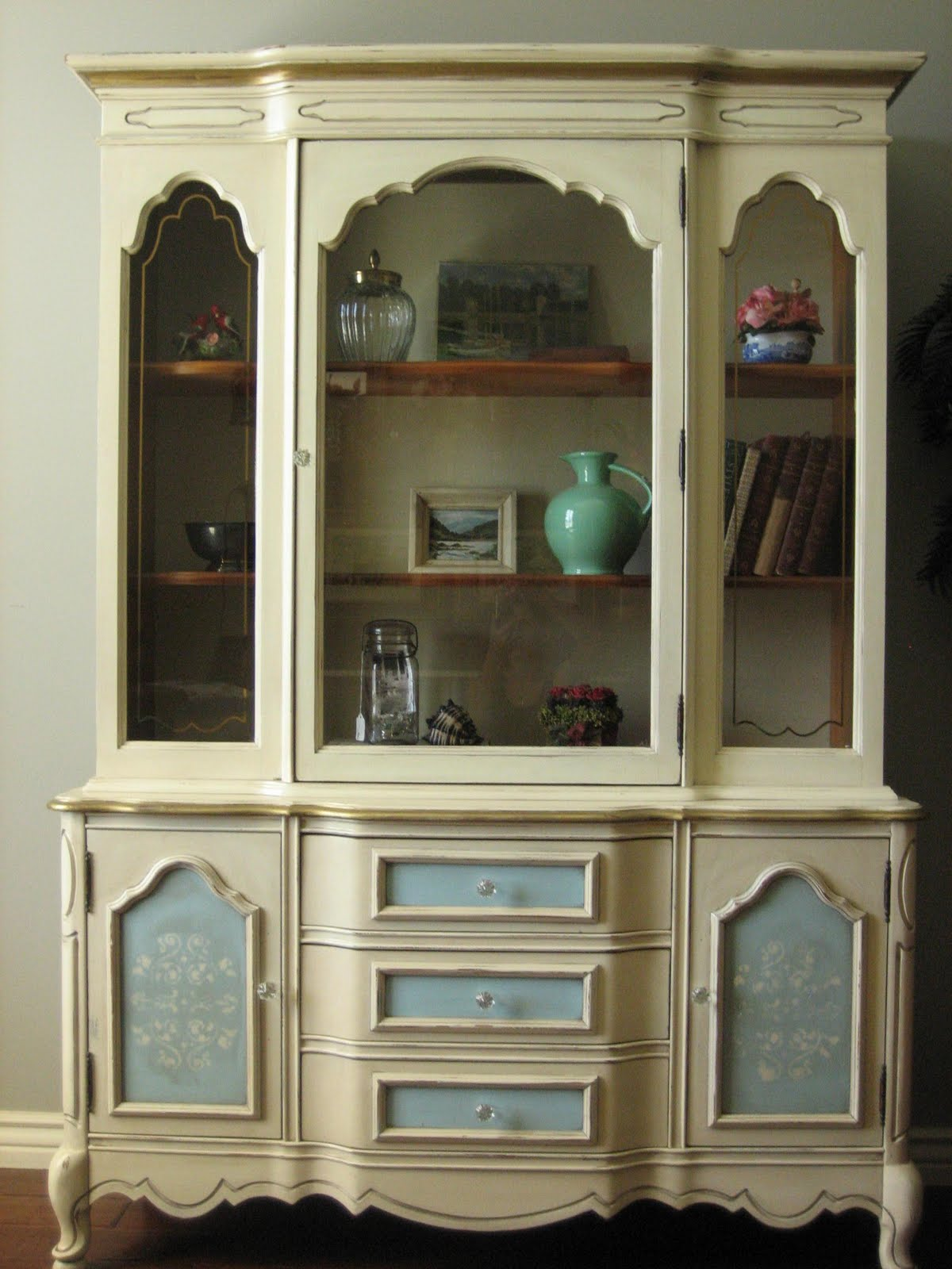 Painted French Provincial Hutch