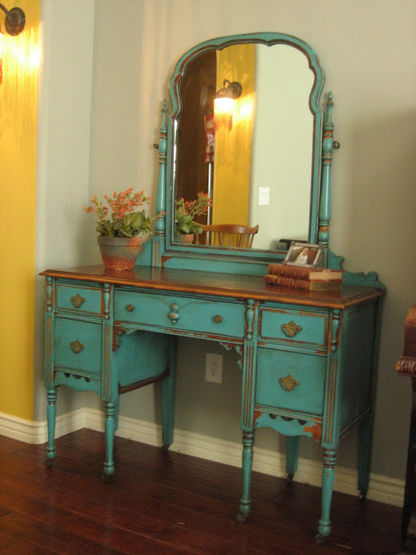 European Paint Finishes Chippy Teal Vanity