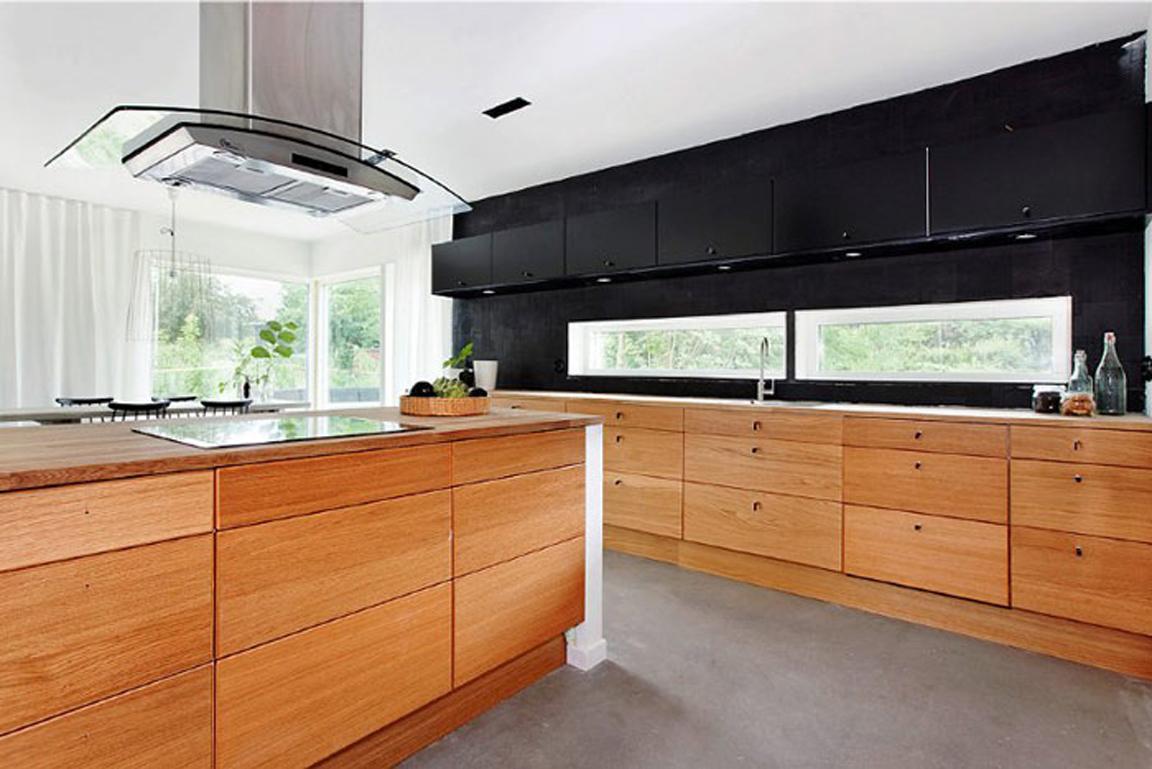 Black white yellow black and wood modern kitchen - Black and wood kitchen ...