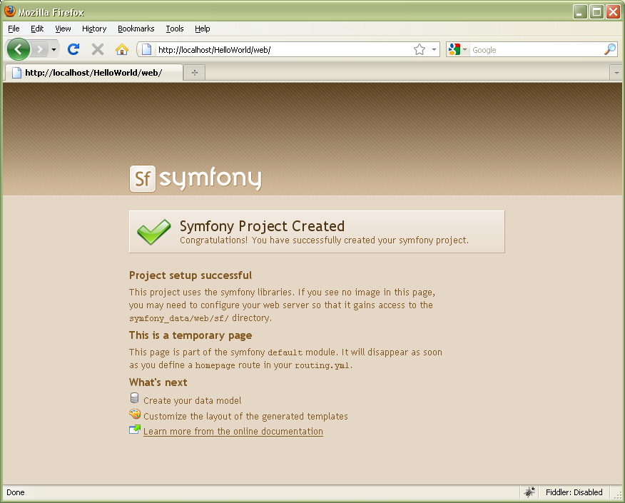 symfony welcome page with css