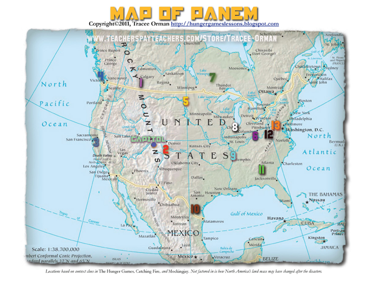 Hunger Games Lessons My Updated Map Of Panem The Hunger Games Trilogy