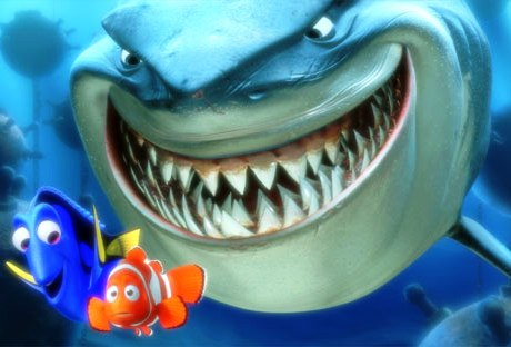 Nemo and Dory appear clueless. Bruce looks hungry. www.disney.com