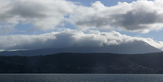 Mt Wellington in cloud from White Rock Point, South Arm - 14 July 2007
