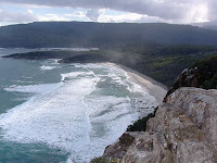 Westward view to South Cape Rivulet and the South Cape Range from the Coal Bluff Lookout - 6th September 2008