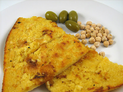 Faina, Farinata, Socca more Olives and Chickpeas or Garbanzos
