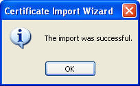 Certificate Import Successful