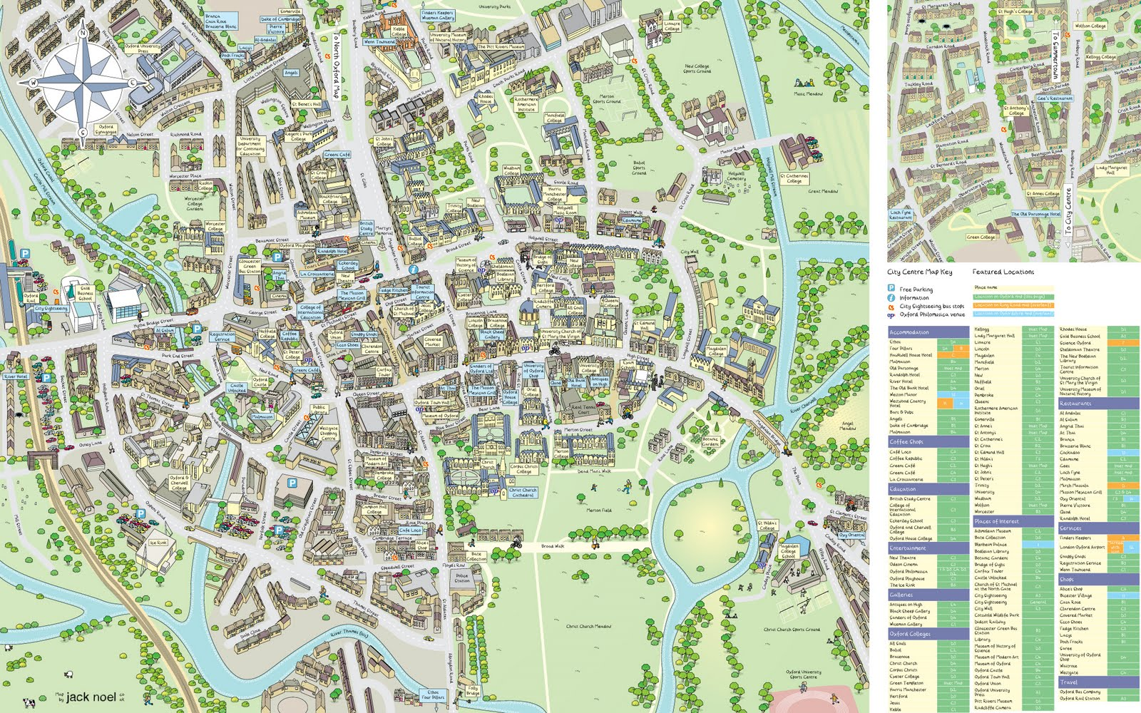 Oxford City Centre Map Jack Draws: Oxford, from above