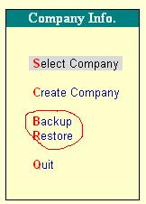 Backup/Restore in Tally