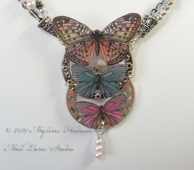 Resined paper butterfly necklace