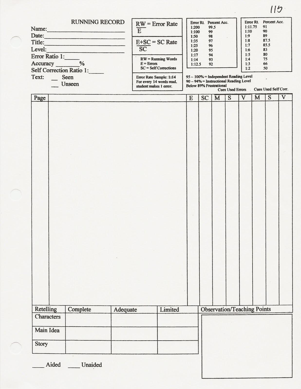 Blank Running Record Form