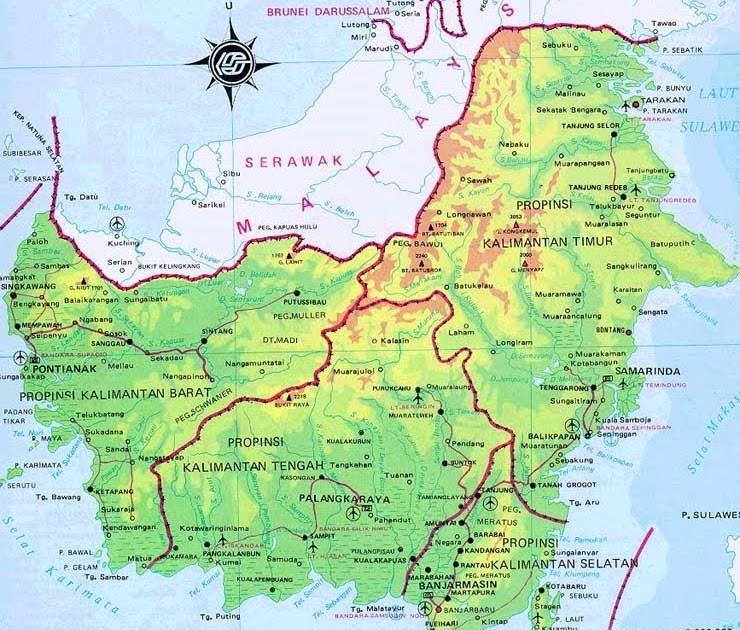 Borneo Island: Visit Borneo: Kalimantan Map