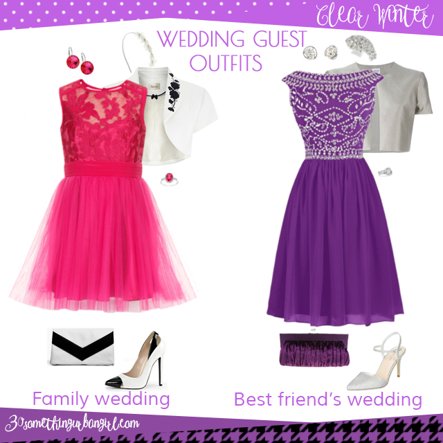 Wedding guest outfit ideas for Clear Winter women by 30somethingurbangirl.com // Are you invited to a family or your best friend's wedding? Find pretty outfit ideas and look fabulous!