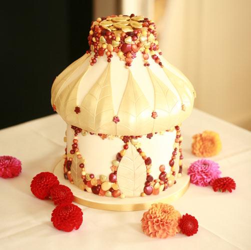 Indian Wedding Cake Decorated With Mahndi And Elephants