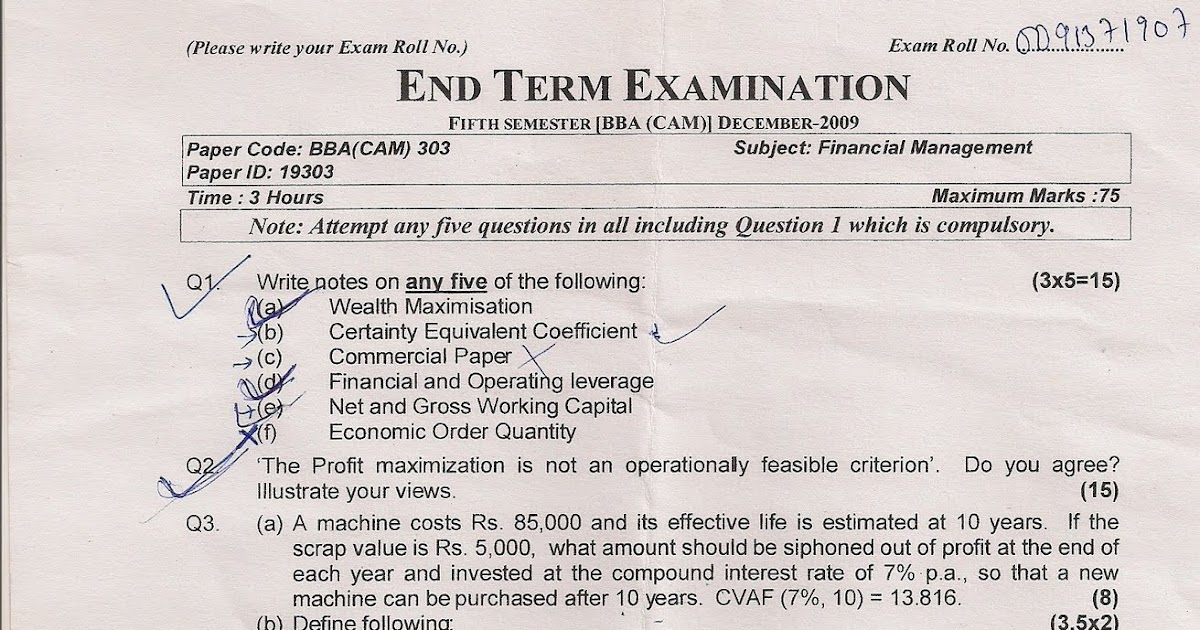 I.P.University question papers by Avinash.: 5th sem BBA
