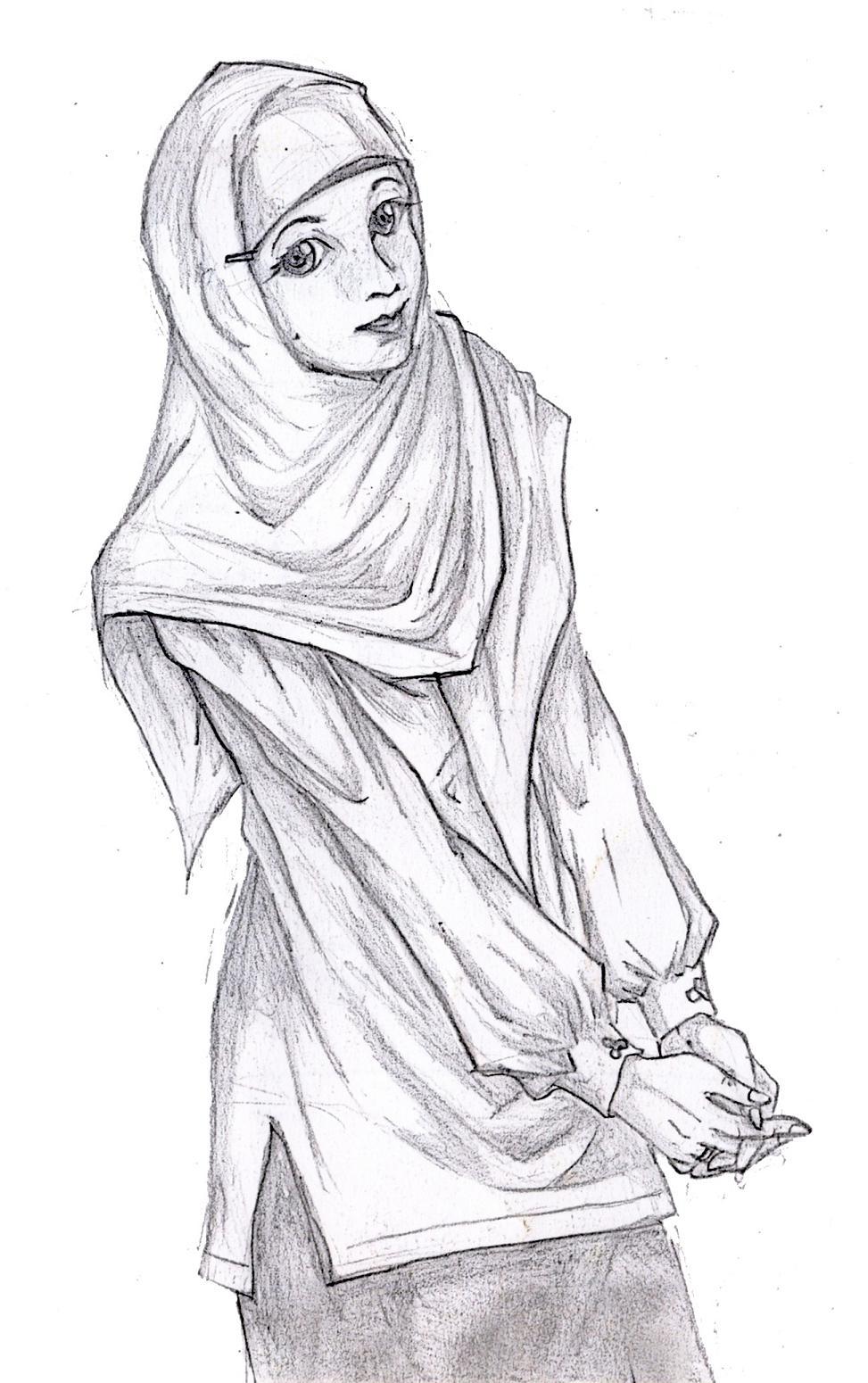 Hijab Animasi Hitam Putih Nusagates