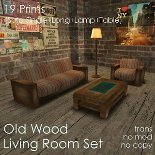 off-brand Furniture in Second Life: Old Wood Living Room Set
