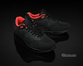 Sneakr Head: Nike WMNS Air Max 1 Black Hot Red Safari Pack
