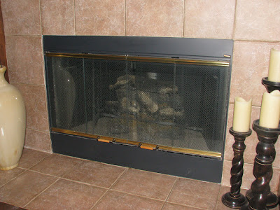 Fireplace brass trim can be painted to get an instant living room ...