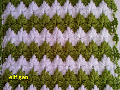 Crochet baby blanket with tree patterns.