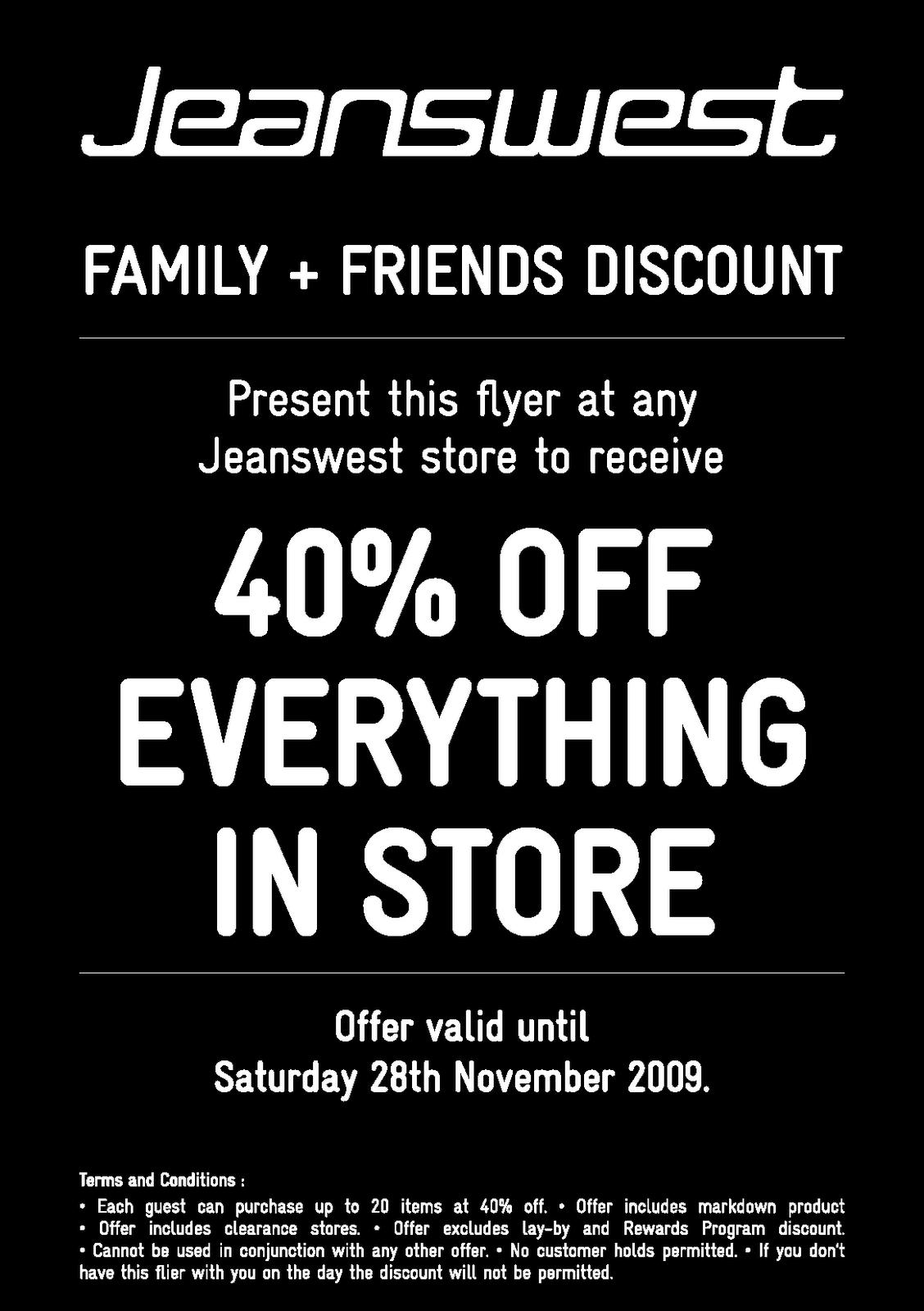 MySale: Jeanswest Friends & Family Discount