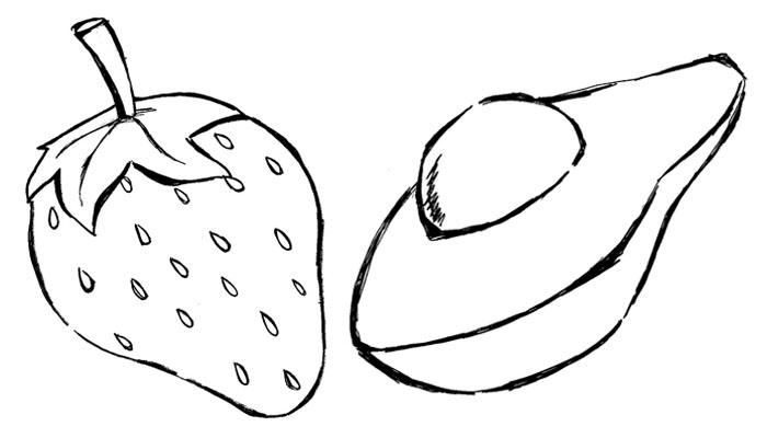 Frutas Para Colorir Morango E Abacate Risco Para Tecidos