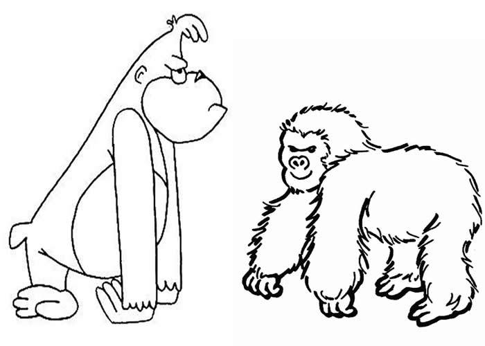 Desenho Infantil Para Colorir. Animais Para Pintar, Macaco