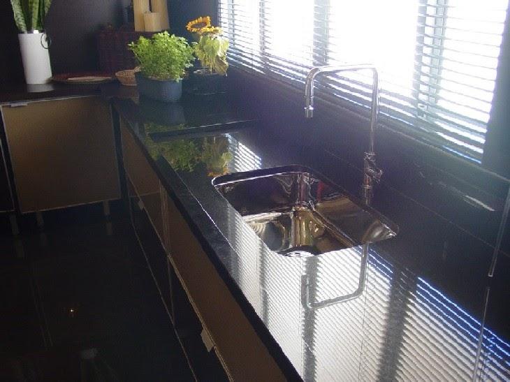 Black Honed Granite With White Kitchen
