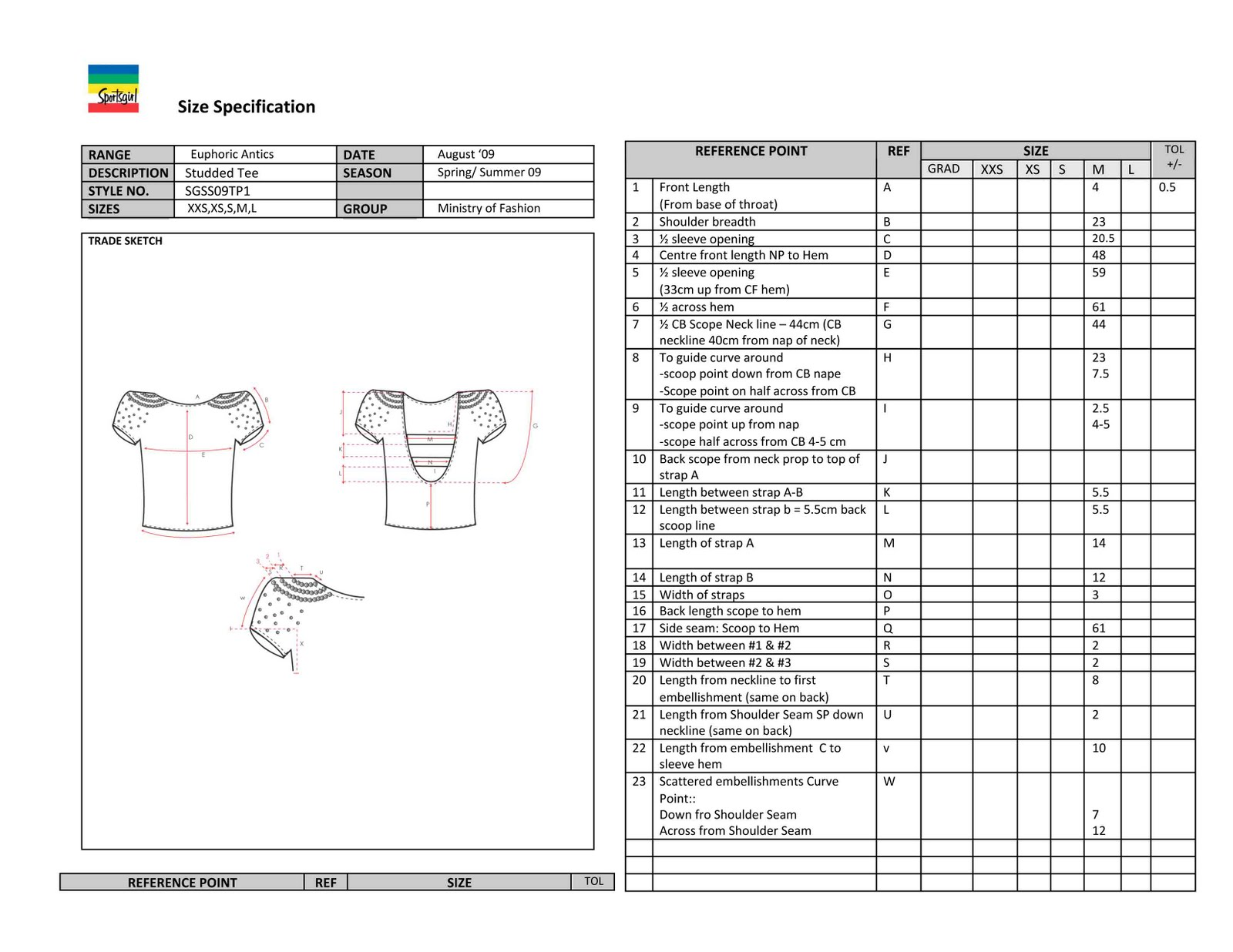 Specification Sheet Fashion