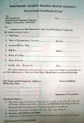 Provisional certificate application form madras university