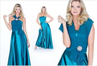 vestidos de seda azul
