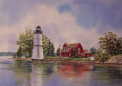Rock Island  Light House original watercolor framed available