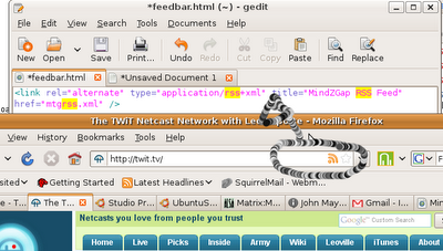 Firefox renders TWiT.tv with RSS Button