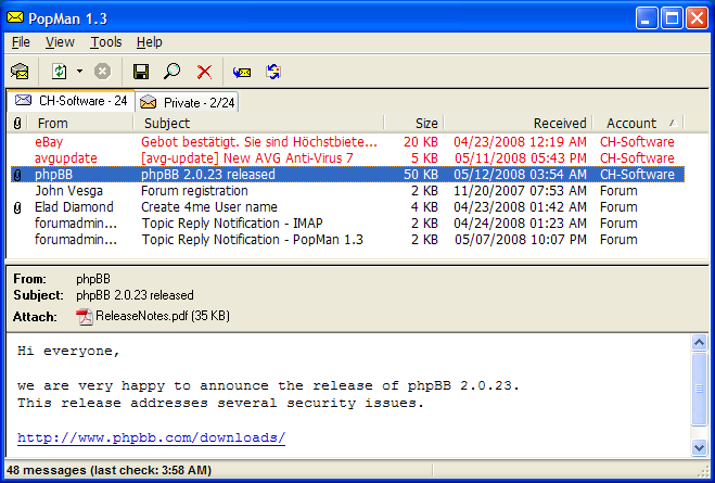 PopMan 1.3.1 - Δες τα νέα email χωρίς να ανοίξεις τον Browser!