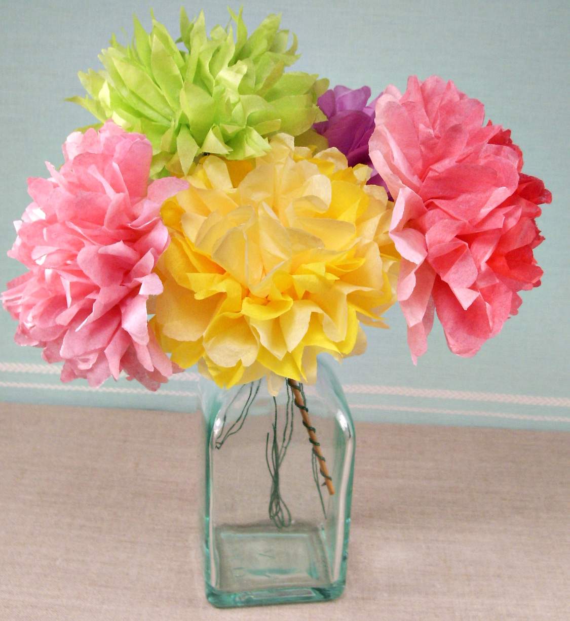 Make tissue paper flowers