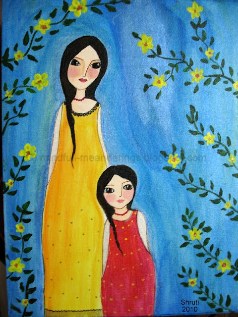 mother daughter acrylic on canvas