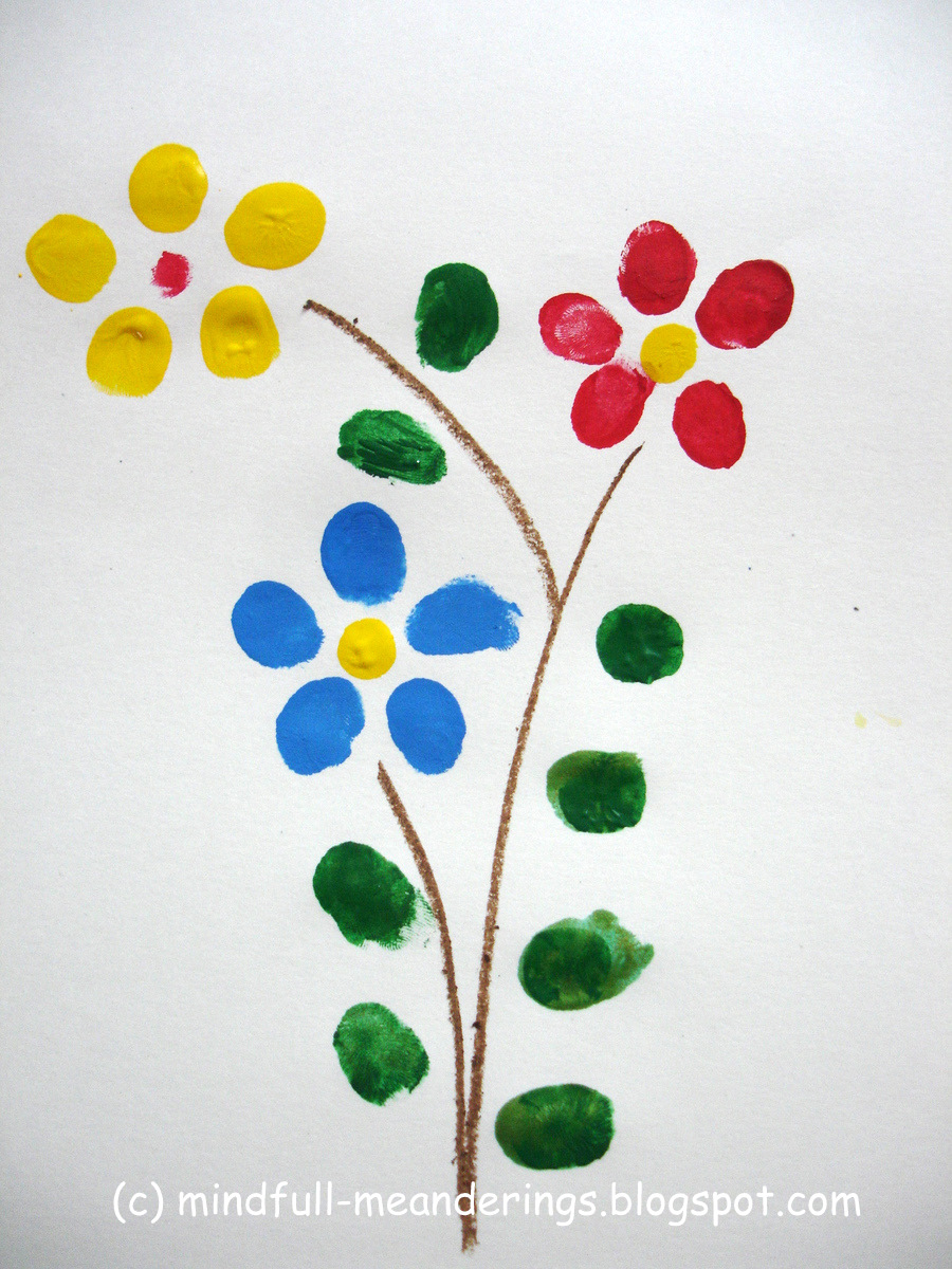 Finger print flower art card that's perfect for really young kids to make with assistance. From our post 20 Last Minute Handmade Teacher's Day Card ideas at ArtsyCraftsyMom.com - Free, printable and personalized thank-you cards that kids can make and Teachers will love! Perfect for National Teacher Appreciation Week and or end of school Teacher appreciation tags.