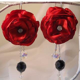 red satin flower earrings