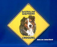 Australian shepherd crossing sign