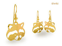 raccoon earrings jewelry gold french curve