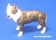 pit bull figurine brindle and white