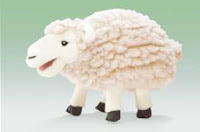 woolly sheep puppet small