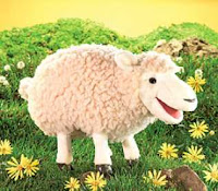 large woolly sheep puppet