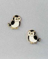 owl earrings post with enamel