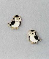 owl earrings post with enamel